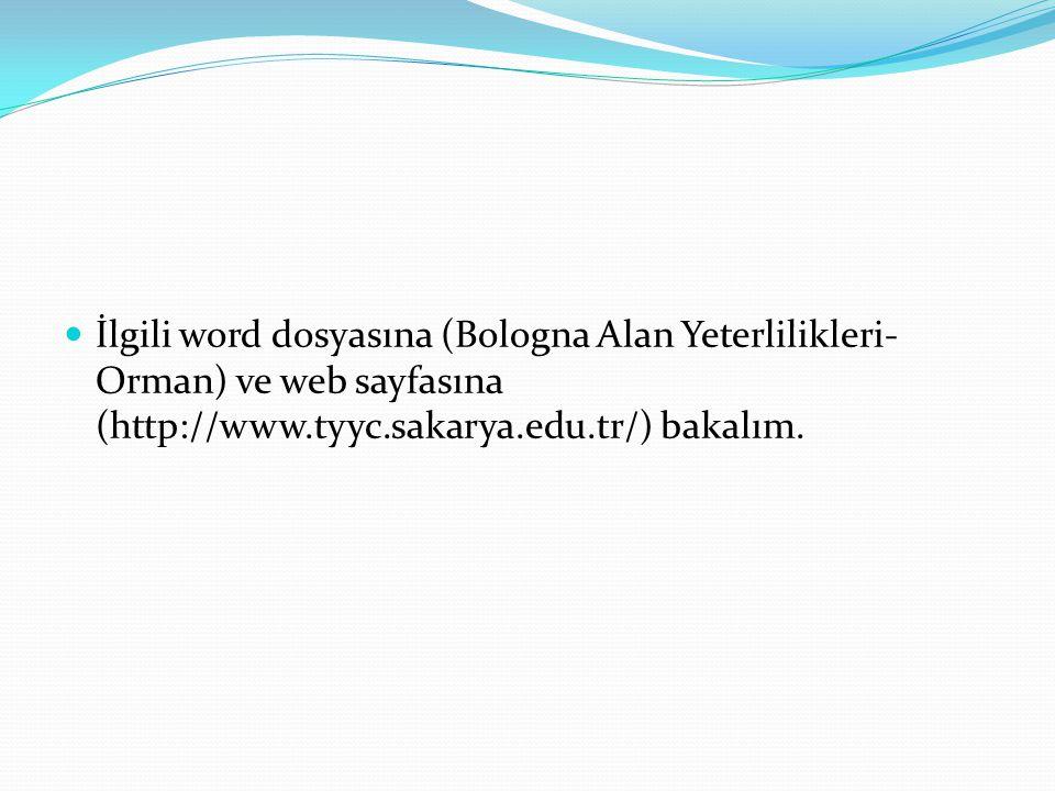 İlgili word dosyasına (Bologna Alan Yeterlilikleri- Orman) ve web sayfasına (http://www.tyyc.sakarya.edu.tr/) bakalım.