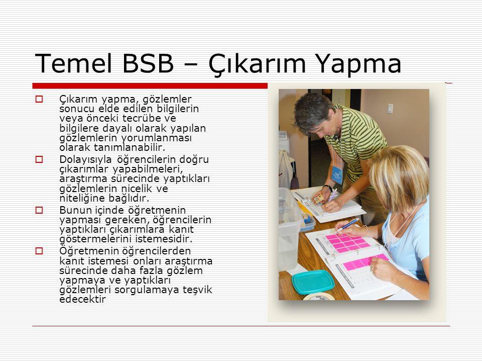 Temel BSB – Çıkarım Yapma  Çıkarım yapma, gözlemler sonucu elde edilen bilgilerin veya önceki tecrübe ve bilgilere dayalı olarak yapılan gözlemlerin yorumlanması olarak tanımlanabilir.