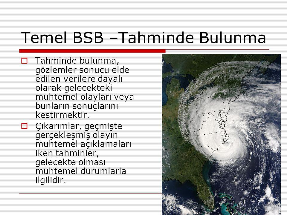 Temel BSB –Tahminde Bulunma  Tahminde bulunma, gözlemler sonucu elde edilen verilere dayalı olarak gelecekteki muhtemel olayları veya bunların sonuçlarını kestirmektir.