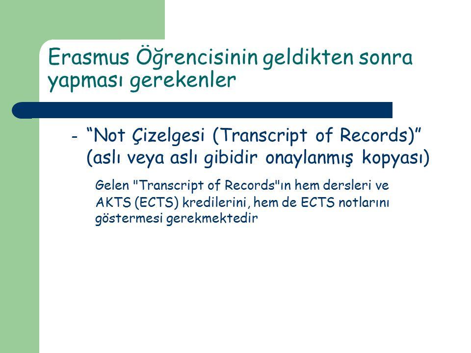 """Erasmus Öğrencisinin geldikten sonra yapması gerekenler – """"Not Çizelgesi (Transcript of Records)"""" (aslı veya aslı gibidir onaylanmış kopyası) Gelen"""