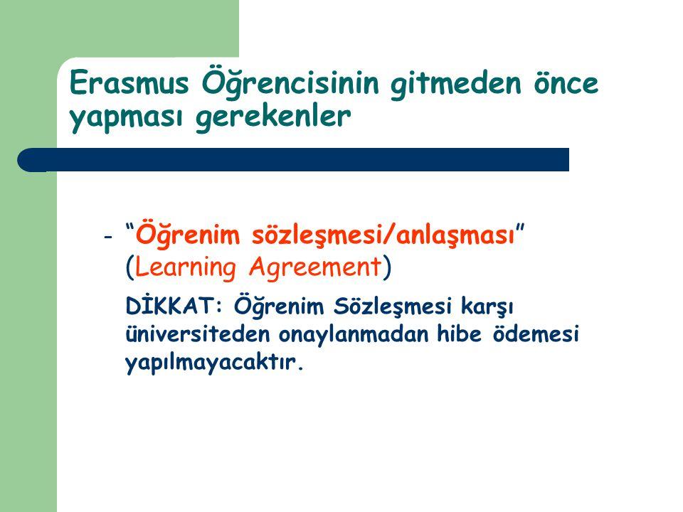 """Erasmus Öğrencisinin gitmeden önce yapması gerekenler – """"Öğrenim sözleşmesi/anlaşması"""" (Learning Agreement) DİKKAT: Öğrenim Sözleşmesi karşı üniversit"""