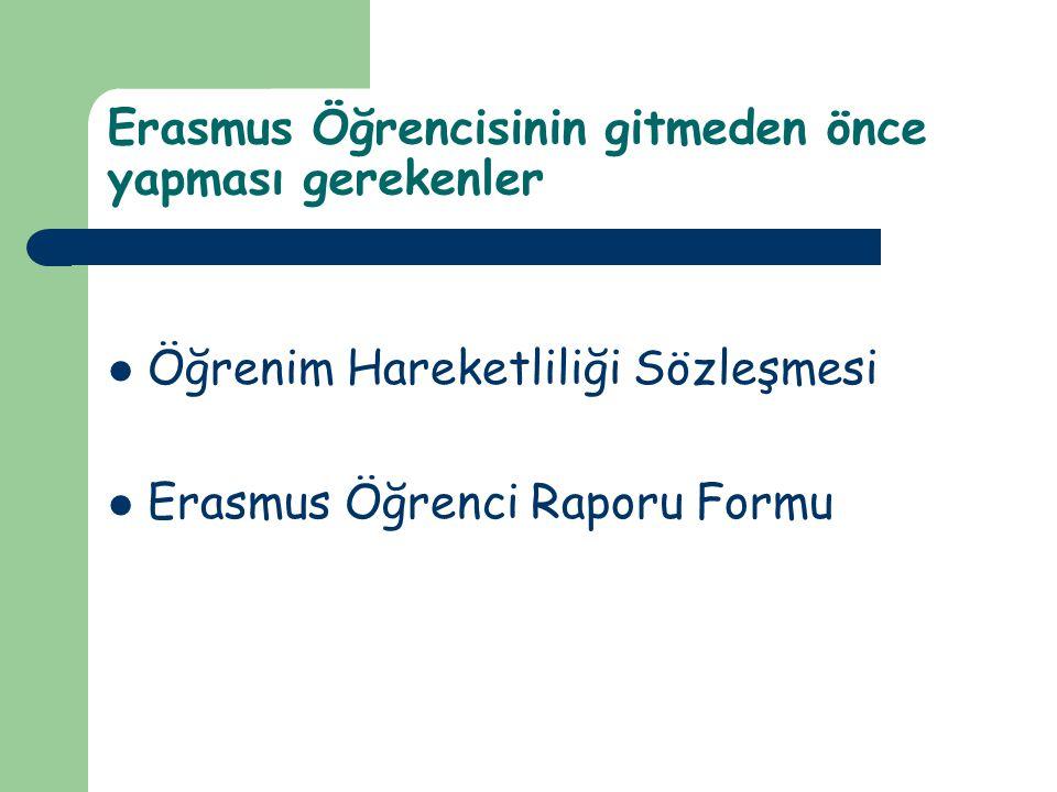 Erasmus Öğrencisinin gitmeden önce yapması gerekenler Öğrenim Hareketliliği Sözleşmesi Erasmus Öğrenci Raporu Formu