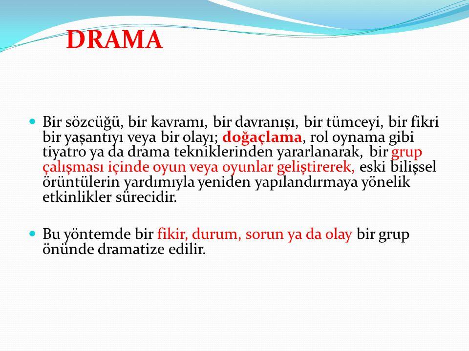 DRAMA Bir sözcüğü, bir kavramı, bir davranışı, bir tümceyi, bir fikri bir yaşantıyı veya bir olayı; doğaçlama, rol oynama gibi tiyatro ya da drama tek