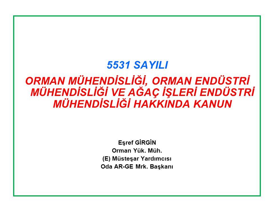 KANUNUN MADDE BAŞLIKLARI 1.Amaç 2.Kapsam 3.Tanımlar 4.Mesleğin Konusu 5.Hak, yetki ve sorumluluklar 6.Meslek mensubu olmanın şartları ve sınav 7.Serbest Ormancılık ve Orman Ürünleri Büroları 8.Serbest Yeminli Ormancılık ve Orman Ürünleri Büroları 9.Yemin 10.Yasaklar 11.Görevle ilgili suçlar 12.Disiplin cezaları 13.Ücret 14.Müktesep haklar