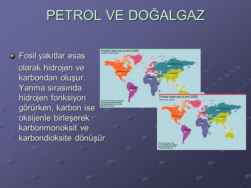 PETROL VE DOĞALGAZ Fosil yakıtlar esas olarak hidrojen ve karbondan oluşur.