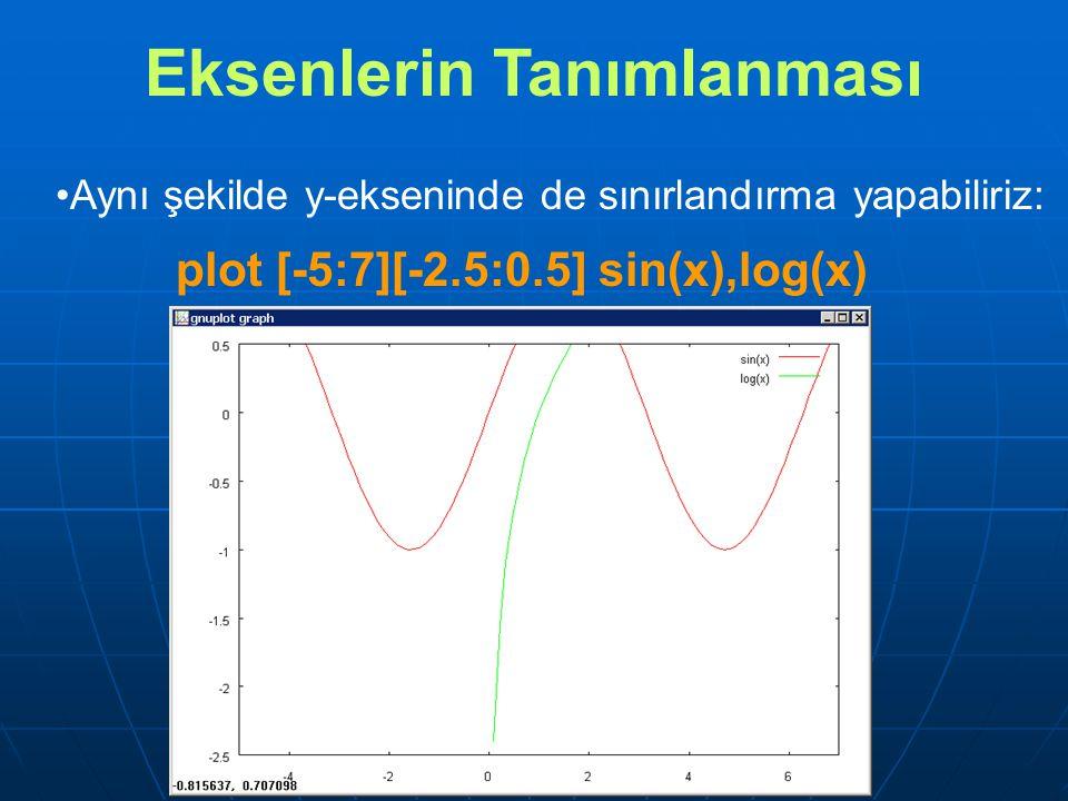 Aynı şekilde y-ekseninde de sınırlandırma yapabiliriz: plot [-5:7][-2.5:0.5] sin(x),log(x) Eksenlerin Tanımlanması
