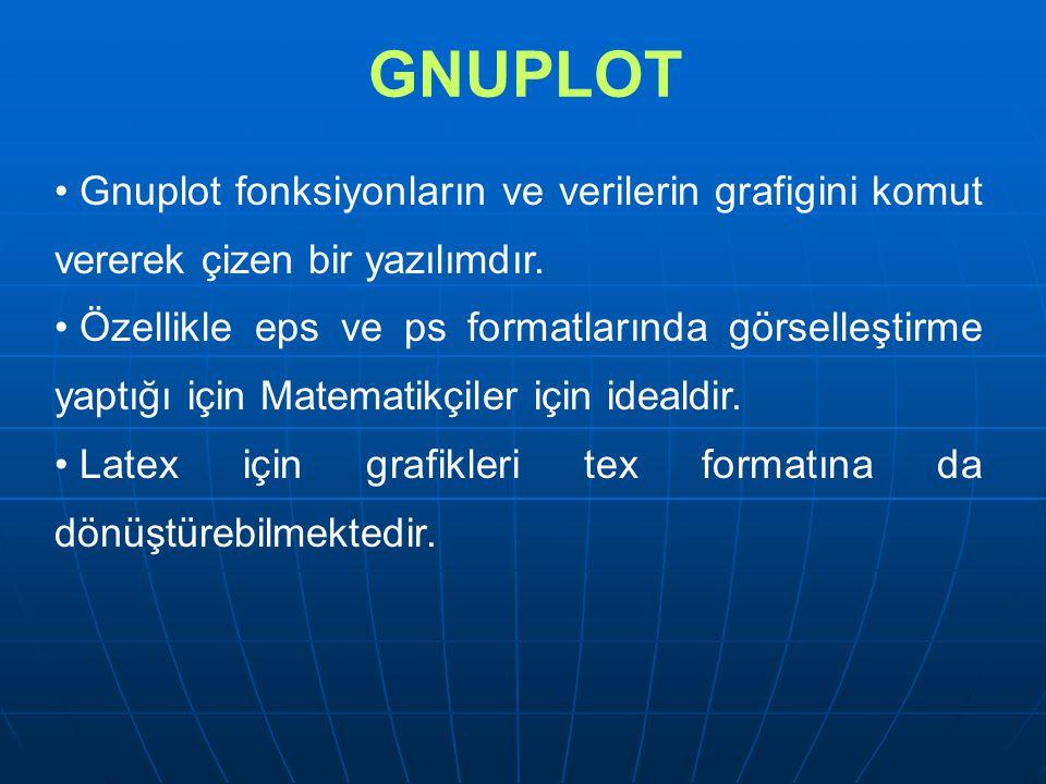 GNUPLOT GnuPlot case sensitive bir programdır.