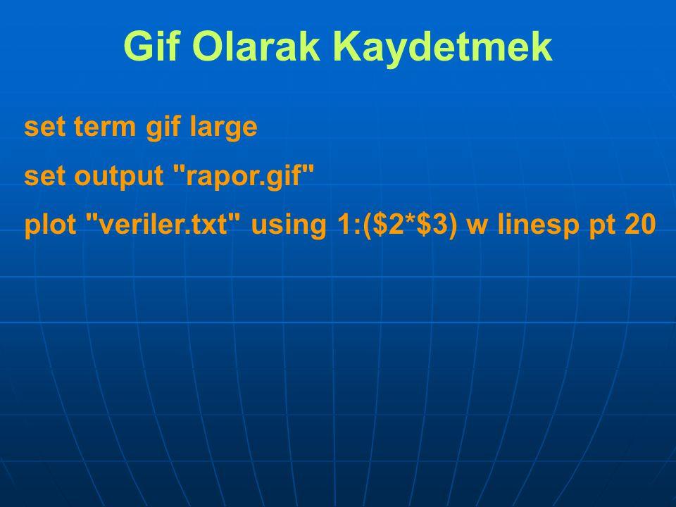Gif Olarak Kaydetmek set term gif large set output rapor.gif plot veriler.txt using 1:($2*$3) w linesp pt 20