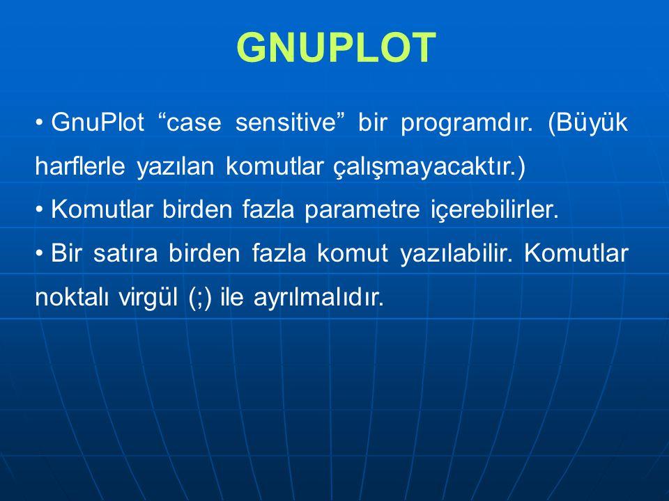 """GNUPLOT GnuPlot """"case sensitive"""" bir programdır. (Büyük harflerle yazılan komutlar çalışmayacaktır.) Komutlar birden fazla parametre içerebilirler. Bi"""