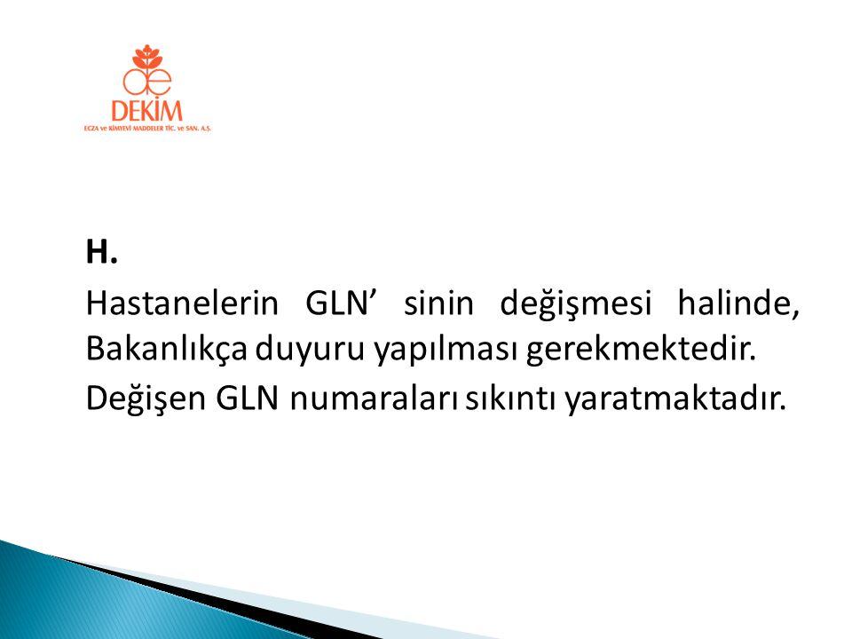 H. Hastanelerin GLN' sinin değişmesi halinde, Bakanlıkça duyuru yapılması gerekmektedir. Değişen GLN numaraları sıkıntı yaratmaktadır.
