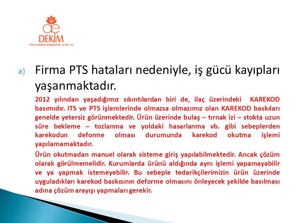 a) Firma PTS hataları nedeniyle, iş gücü kayıpları yaşanmaktadır. 2012 yılından yaşadığımız sıkıntılardan biri de, ilaç üzerindeki KAREKOD basımıdır.