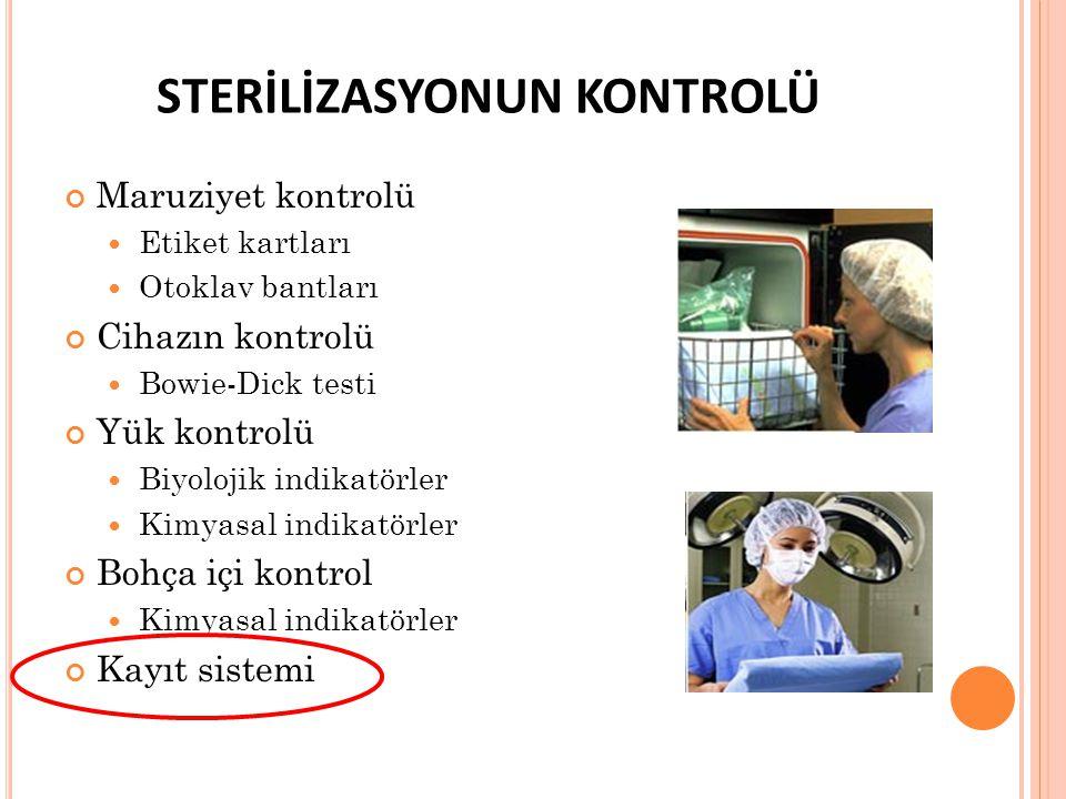 STERİLİZASYONUN KONTROLÜ Maruziyet kontrolü Etiket kartları Otoklav bantları Cihazın kontrolü Bowie-Dick testi Yük kontrolü Biyolojik indikatörler Kim
