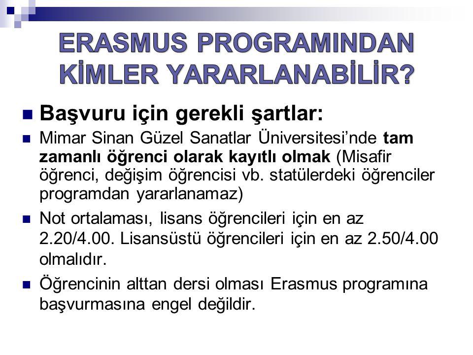 Başvuru için gerekli şartlar: Mimar Sinan Güzel Sanatlar Üniversitesi'nde tam zamanlı öğrenci olarak kayıtlı olmak (Misafir öğrenci, değişim öğrencisi vb.
