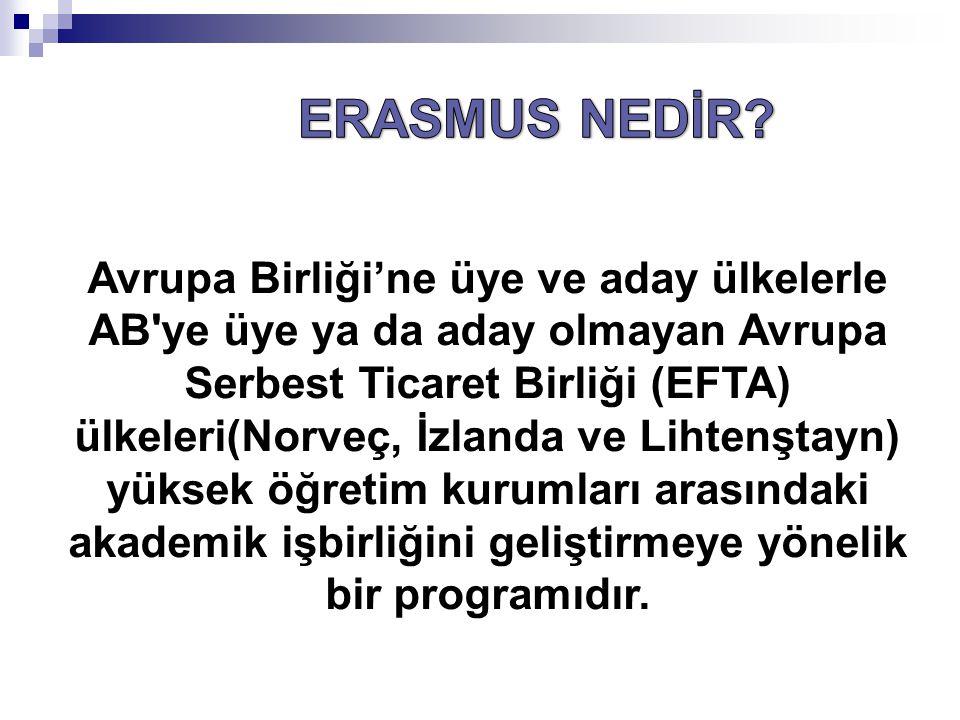 Erasmus programı 1987 den beri uygulanmakta olup 1995 te Socrates (LLP) programları kapsamına alınmıştır.