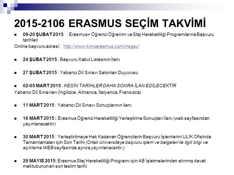 2015-2106 ERASMUS SEÇİM TAKVİMİ 09-20 ŞUBAT 2015 : Erasmus+ Öğrenci Öğrenim ve Staj Hareketliliği Programlarına Başvuru tarihleri Online başvuru adresi : http://www.kimoerasmus.com/msgsu/http://www.kimoerasmus.com/msgsu/ 24 ŞUBAT 2015 : Başvuru Kabul Listesinin İlanı 27 ŞUBAT 2015 : Yabancı Dil Sınavı Salonları Duyurusu 02-05 MART 2015 : KESİN TARİHLER DAHA SONRA İLAN EDİLECEKTİR Yabancı Dil Sınavları (İngilizce, Almanca, İtalyanca, Fransızca) 11 MART 2015 : Yabancı Dil Sınavı Sonuçlarının ilanı 16 MART 2015 : Erasmus Öğrenci Hareketliliği Yerleştirme Sonuçları İlanı (web sayfasından yayınlanacaktır) 30 MART 2015 : Yerleştirilmeye Hak Kazanan Öğrencilerin Başvuru İşlemlerini ULİK Ofisinde Tamamlamaları için Son Tarihi (Ortak üniversiteye başvuru işlem ve belgeleri ile ilgili bilgi ve açıklama WEB sayfasında ayrıca yayınlanacaktır.) 29 MAYIS 2015: Erasmus Staj Hareketliliği Programı için AB İşletmelerinden alınmış davet mektubunun en son teslim tarihi