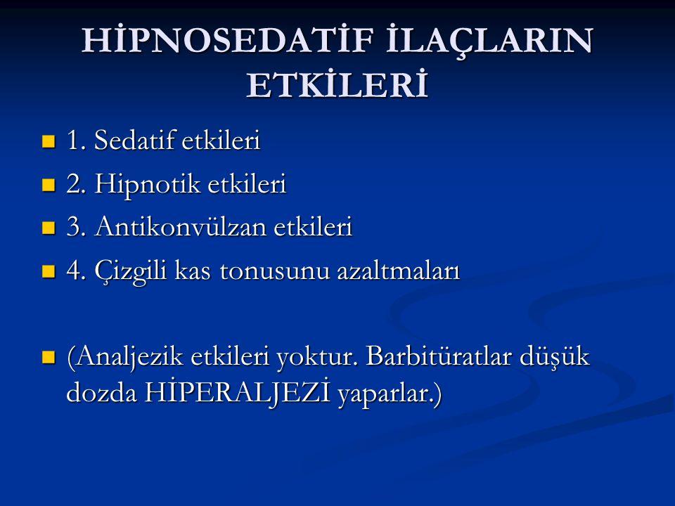 HİPNOSEDATİF İLAÇLARIN ETKİLERİ 1.Sedatif etkileri 1.
