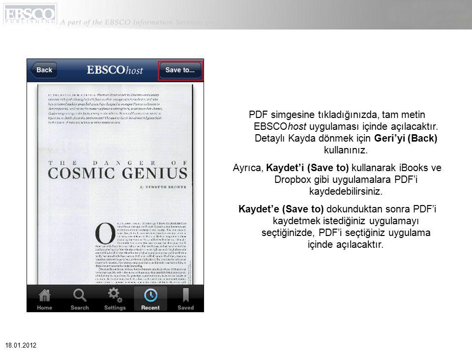PDF simgesine tıkladığınızda, tam metin EBSCOhost uygulaması içinde açılacaktır. Detaylı Kayda dönmek için Geri'yi (Back) kullanınız. Ayrıca, Kaydet'i