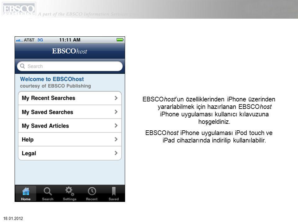 EBSCOhost'un özelliklerinden iPhone üzerinden yararlabilmek için hazırlanan EBSCOhost iPhone uygulaması kullanıcı kılavuzuna hoşgeldiniz.