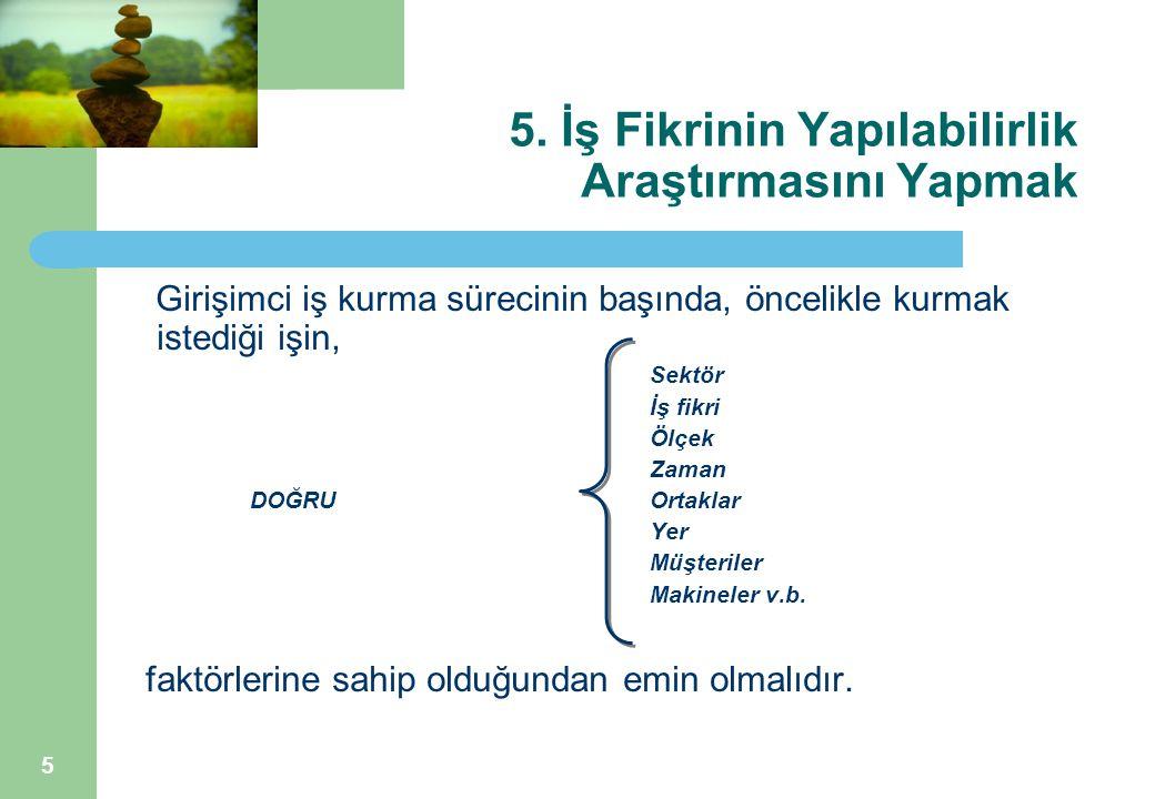 6 5.İş Fikrinin Yapılabilirlik Araştırmasını Yapmak Girişimci gerekli özelliklere sahip mi.