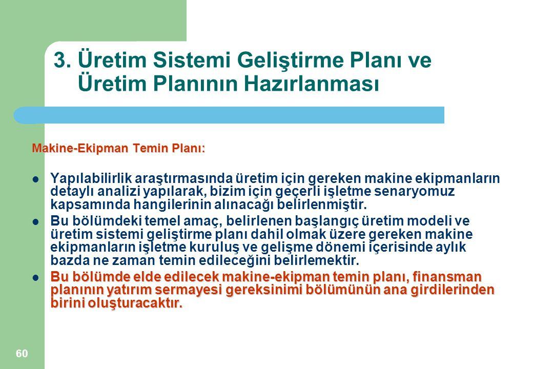60 3. Üretim Sistemi Geliştirme Planı ve Üretim Planının Hazırlanması Makine-Ekipman Temin Planı: Yapılabilirlik araştırmasında üretim için gereken ma