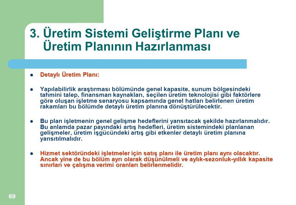 69 3. Üretim Sistemi Geliştirme Planı ve Üretim Planının Hazırlanması Detaylı Üretim Planı: Detaylı Üretim Planı: Yapılabilirlik araştırması bölümünde