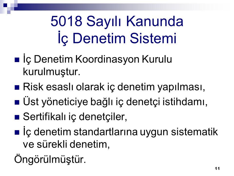 11 5018 Sayılı Kanunda İç Denetim Sistemi İç Denetim Koordinasyon Kurulu kurulmuştur. Risk esaslı olarak iç denetim yapılması, Üst yöneticiye bağlı iç