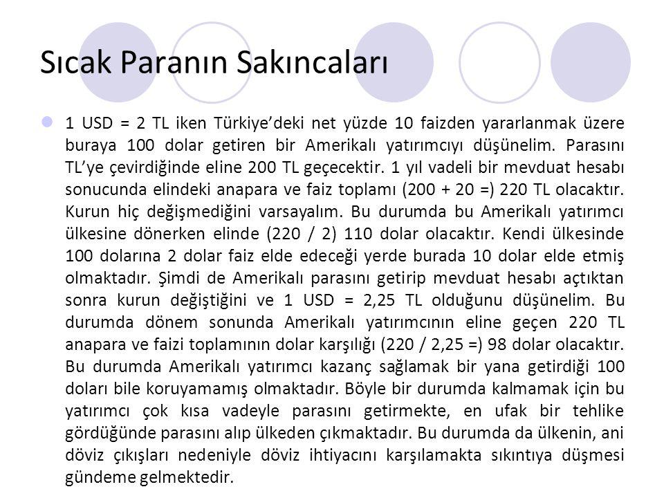 Sıcak Paranın Sakıncaları 1 USD = 2 TL iken Türkiye'deki net yüzde 10 faizden yararlanmak üzere buraya 100 dolar getiren bir Amerikalı yatırımcıyı düş