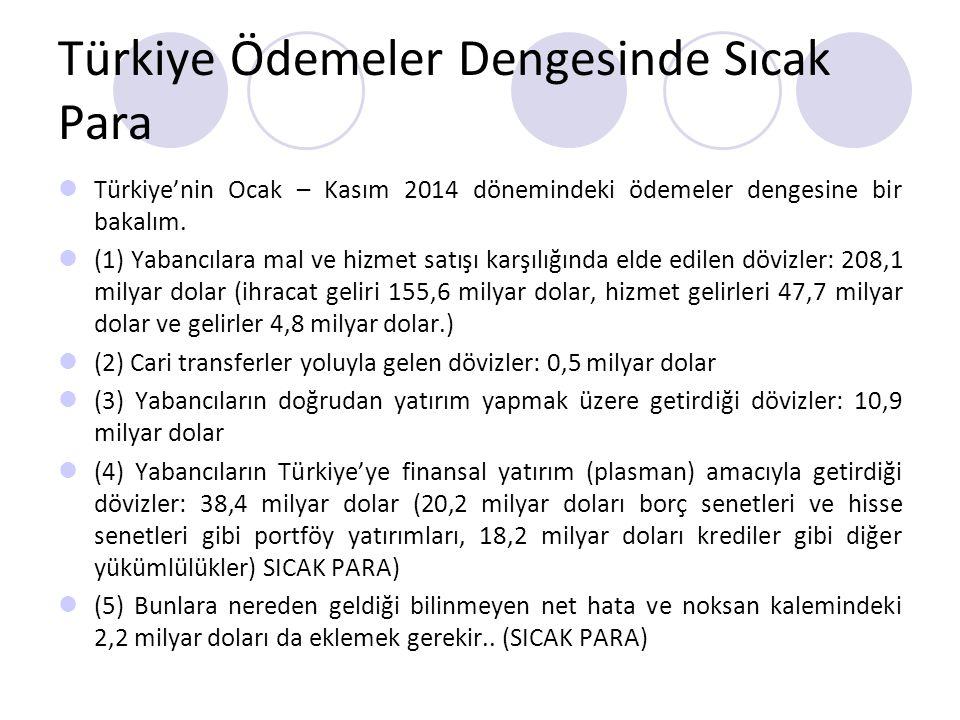 Türkiye Ödemeler Dengesinde Sıcak Para Türkiye'nin Ocak – Kasım 2014 dönemindeki ödemeler dengesine bir bakalım. (1) Yabancılara mal ve hizmet satışı