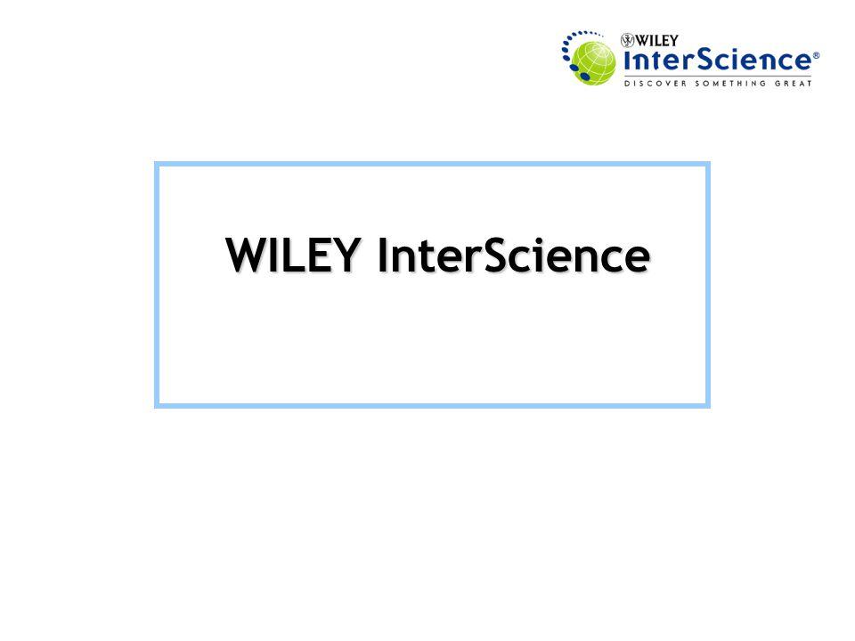 Erişim Adresi: http://www3.interscience.wiley.com/