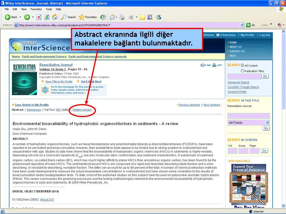 Abstract ekranında ilgili diğer makalelere bağlantı bulunmaktadır.