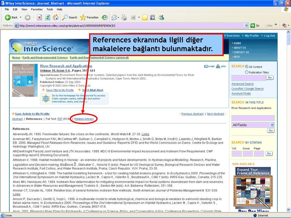 References ekranında ilgili diğer makalelere bağlantı bulunmaktadır.