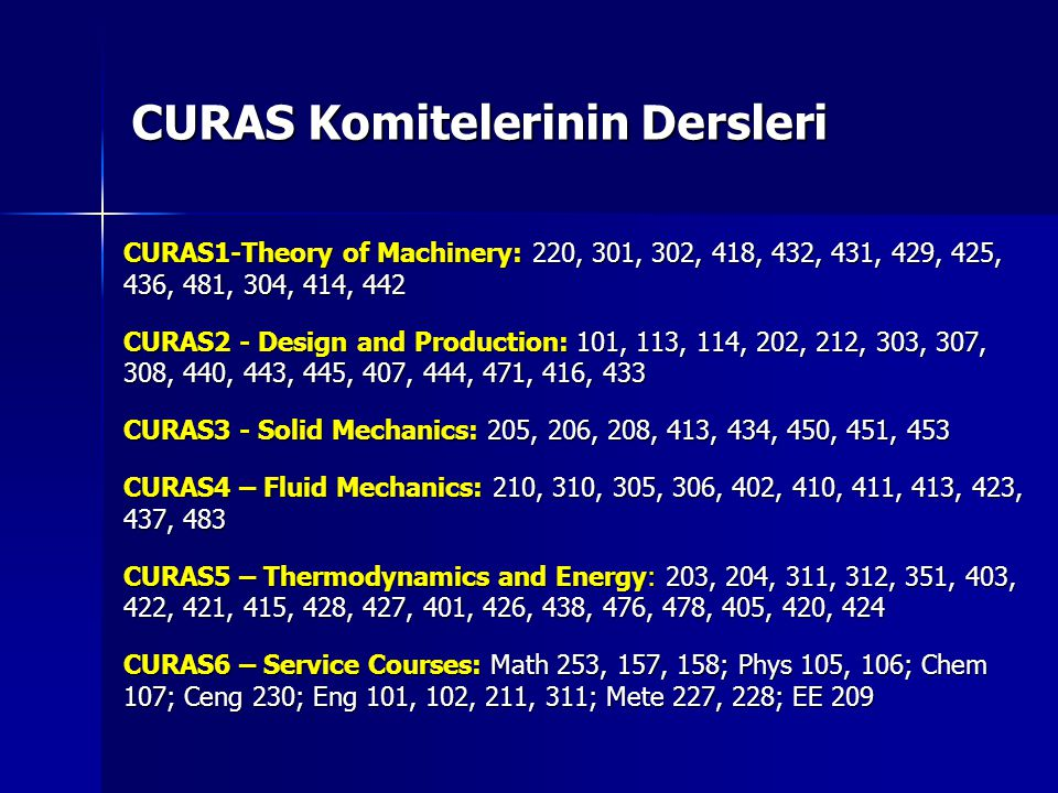 CURAS Komitelerinin Dersleri CURAS1-Theory of Machinery: 220, 301, 302, 418, 432, 431, 429, 425, 436, 481, 304, 414, 442 CURAS2 - Design and Production: 101, 113, 114, 202, 212, 303, 307, 308, 440, 443, 445, 407, 444, 471, 416, 433 CURAS3 - Solid Mechanics: 205, 206, 208, 413, 434, 450, 451, 453 CURAS4 – Fluid Mechanics: 210, 310, 305, 306, 402, 410, 411, 413, 423, 437, 483 CURAS5 – Thermodynamics and Energy: 203, 204, 311, 312, 351, 403, 422, 421, 415, 428, 427, 401, 426, 438, 476, 478, 405, 420, 424 CURAS6 – Service Courses: Math 253, 157, 158; Phys 105, 106; Chem 107; Ceng 230; Eng 101, 102, 211, 311; Mete 227, 228; EE 209