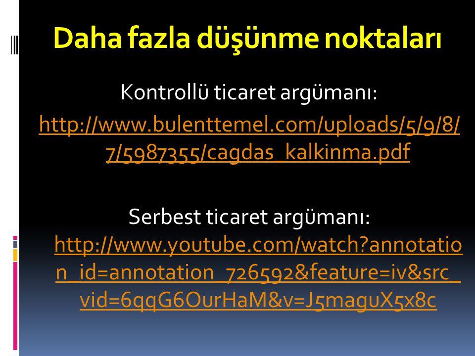 Kontrollü ticaret argümanı: http://www.bulenttemel.com/uploads/5/9/8/ 7/5987355/cagdas_kalkinma.pdf Serbest ticaret argümanı: http://www.youtube.com/watch?annotatio n_id=annotation_726592&feature=iv&src_ vid=6qqG6OurHaM&v=J5maguX5x8c http://www.youtube.com/watch?annotatio n_id=annotation_726592&feature=iv&src_ vid=6qqG6OurHaM&v=J5maguX5x8c Daha fazla düşünme noktaları
