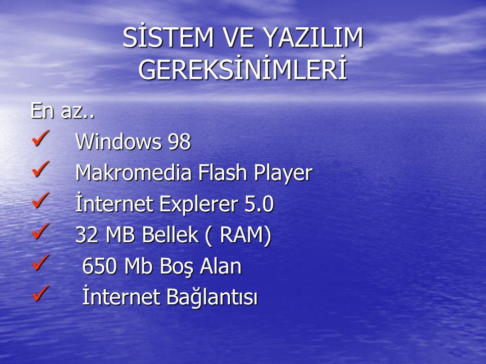SİSTEM VE YAZILIM GEREKSİNİMLERİ En az.. Windows 98 Windows 98 Makromedia Flash Player Makromedia Flash Player İnternet Explerer 5.0 İnternet Explerer