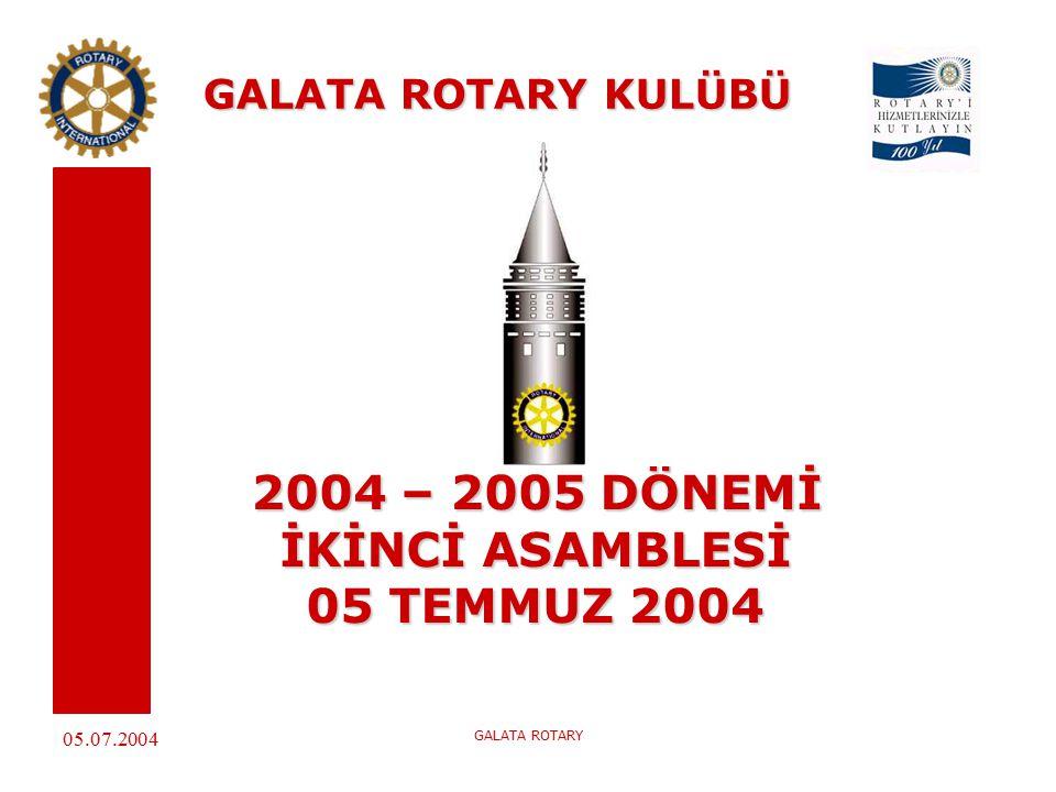 05.07.2004 GALATA ROTARY GALATA ROTARY KULÜBÜ 2004 – 2005 DÖNEMİ İKİNCİ ASAMBLESİ 05 TEMMUZ 2004