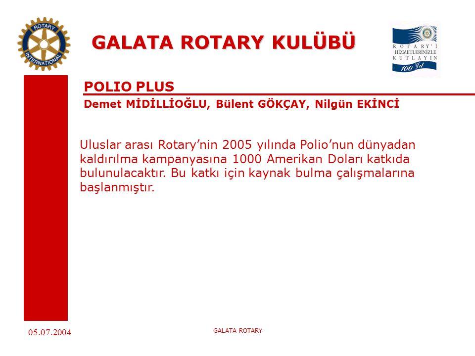 05.07.2004 GALATA ROTARY GALATA ROTARY KULÜBÜ POLIO PLUS Demet MİDİLLİOĞLU, Bülent GÖKÇAY, Nilgün EKİNCİ Uluslar arası Rotary'nin 2005 yılında Polio'nun dünyadan kaldırılma kampanyasına 1000 Amerikan Doları katkıda bulunulacaktır.