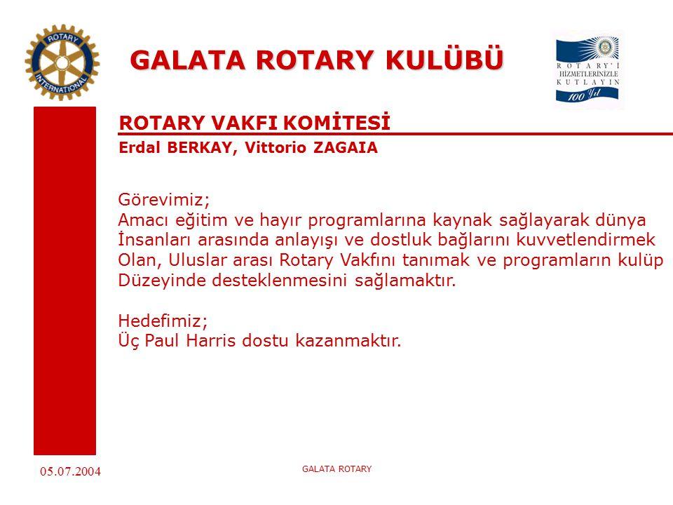 05.07.2004 GALATA ROTARY GALATA ROTARY KULÜBÜ ROTARY VAKFI KOMİTESİ Erdal BERKAY, Vittorio ZAGAIA Görevimiz; Amacı eğitim ve hayır programlarına kaynak sağlayarak dünya İnsanları arasında anlayışı ve dostluk bağlarını kuvvetlendirmek Olan, Uluslar arası Rotary Vakfını tanımak ve programların kulüp Düzeyinde desteklenmesini sağlamaktır.