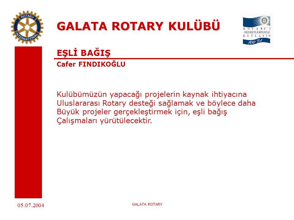 05.07.2004 GALATA ROTARY GALATA ROTARY KULÜBÜ EŞLİ BAĞIŞ Cafer FINDIKOĞLU Kulübümüzün yapacağı projelerin kaynak ihtiyacına Uluslararası Rotary desteği sağlamak ve böylece daha Büyük projeler gerçekleştirmek için, eşli bağış Çalışmaları yürütülecektir.