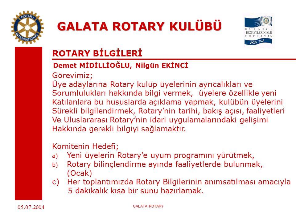 05.07.2004 GALATA ROTARY GALATA ROTARY KULÜBÜ ROTARY BİLGİLERİ Demet MİDİLLİOĞLU, Nilgün EKİNCİ Görevimiz; Üye adaylarına Rotary kulüp üyelerinin ayrıcalıkları ve Sorumlulukları hakkında bilgi vermek, üyelere özellikle yeni Katılanlara bu hususlarda açıklama yapmak, kulübün üyelerini Sürekli bilgilendirmek, Rotary'nin tarihi, bakış açısı, faaliyetleri Ve Uluslararası Rotary'nin idari uygulamalarındaki gelişimi Hakkında gerekli bilgiyi sağlamaktır.