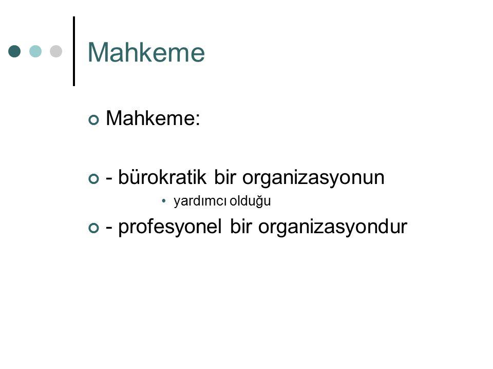 Mahkeme Mahkeme: - bürokratik bir organizasyonun yardımcı olduğu - profesyonel bir organizasyondur