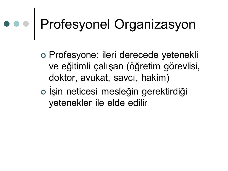 Profesyonel Organizasyon Profesyone: ileri derecede yetenekli ve eğitimli çalışan (öğretim görevlisi, doktor, avukat, savcı, hakim) İşin neticesi mesleğin gerektirdiği yetenekler ile elde edilir