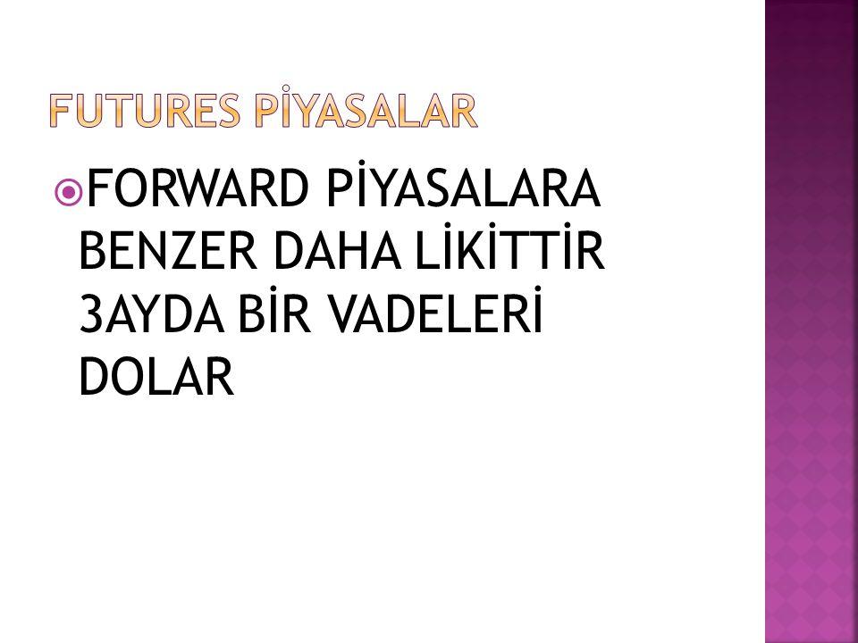  FORWARD PİYASALARA BENZER DAHA LİKİTTİR 3AYDA BİR VADELERİ DOLAR