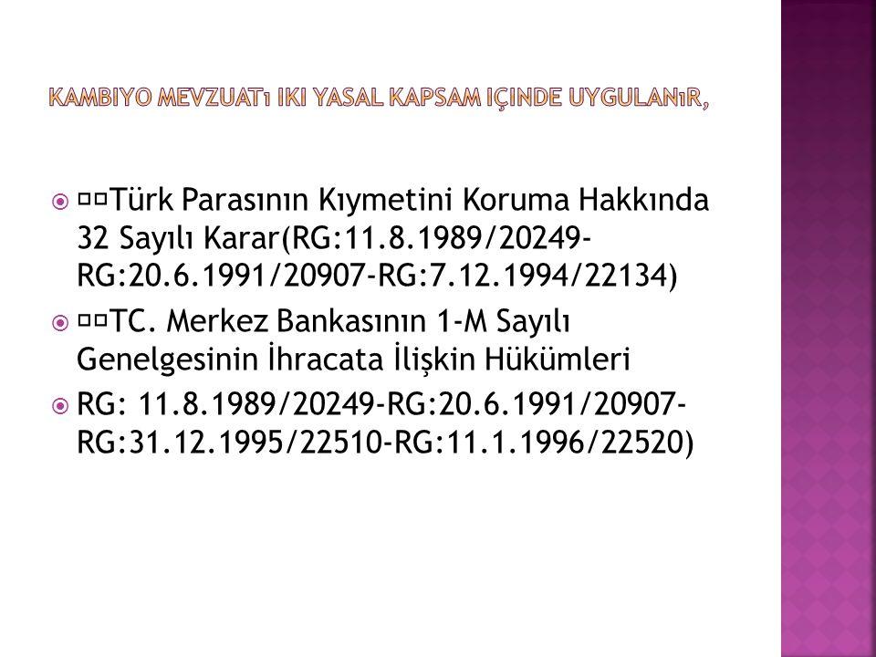  Türk Parasının Kıymetini Koruma Hakkında 32 Sayılı Karar(RG:11.8.1989/20249- RG:20.6.1991/20907-RG:7.12.1994/22134)  TC. Merkez Bankasının 1-M Sayı