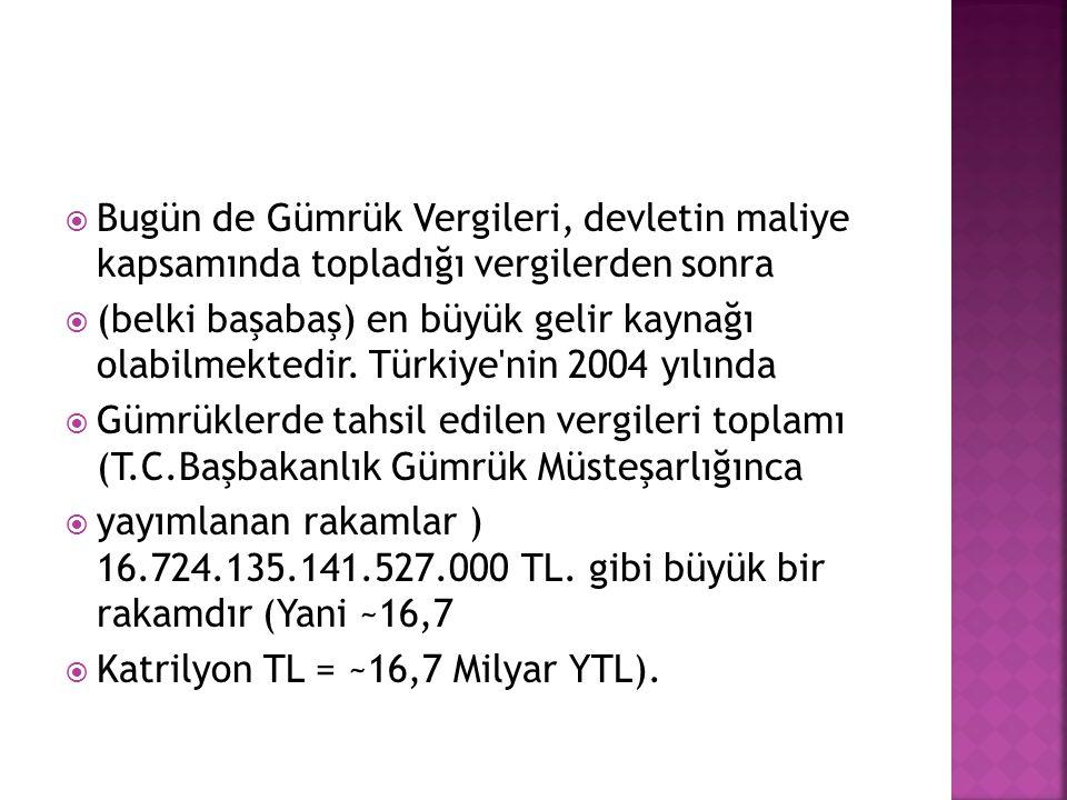  Bugün de Gümrük Vergileri, devletin maliye kapsamında topladığı vergilerden sonra  (belki başabaş) en büyük gelir kaynağı olabilmektedir. Türkiye'n