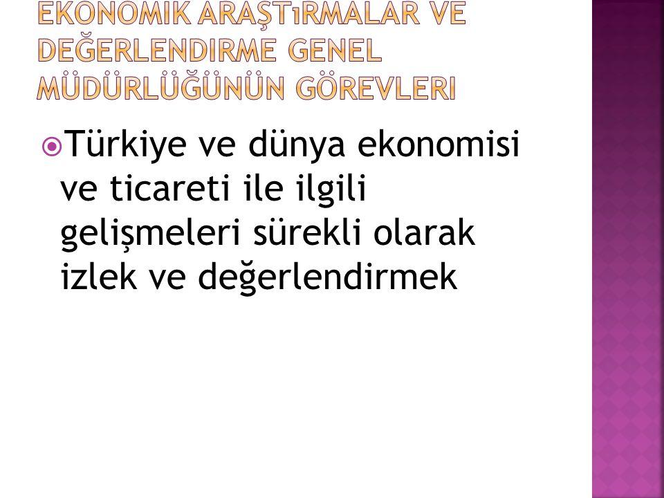  Türkiye ve dünya ekonomisi ve ticareti ile ilgili gelişmeleri sürekli olarak izlek ve değerlendirmek