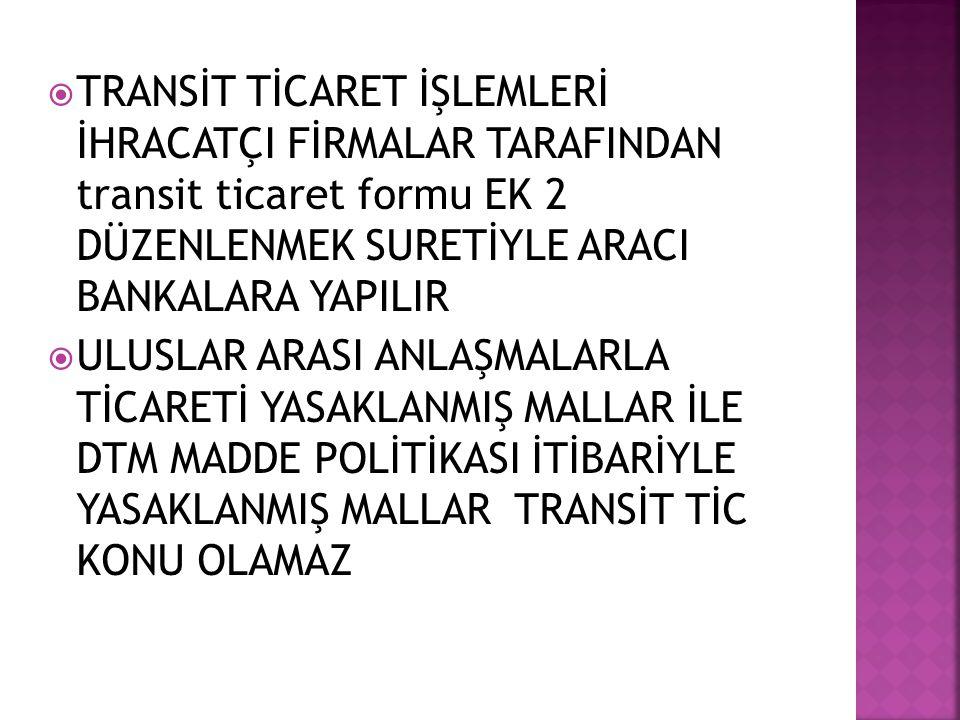  TRANSİT TİCARET İŞLEMLERİ İHRACATÇI FİRMALAR TARAFINDAN transit ticaret formu EK 2 DÜZENLENMEK SURETİYLE ARACI BANKALARA YAPILIR  ULUSLAR ARASI ANL