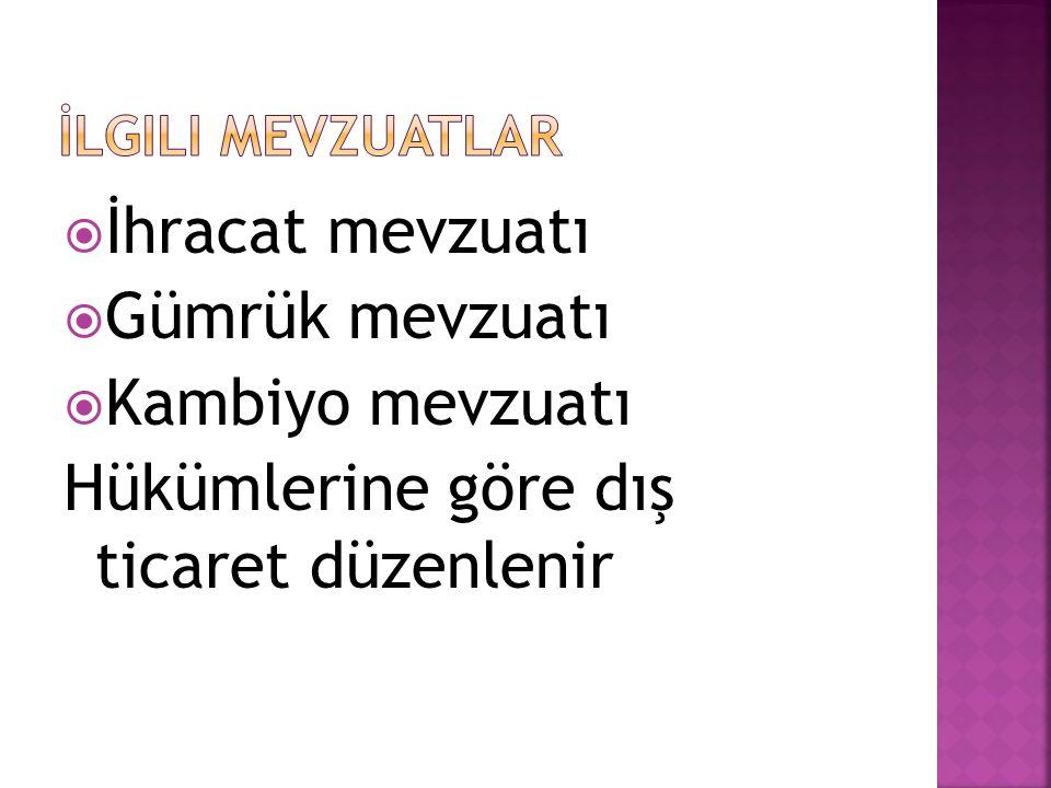  Para kurumu  Dpt  Hazine müsteşarlığı  Dış ticaret müsteşarlığı  Merkez bankası  Eximbank  Gelirler genel müdürlüğü  Gümrük genel müdürlüğü