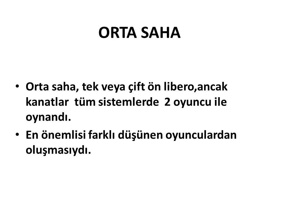 ORTA SAHA Orta saha, tek veya çift ön libero,ancak kanatlar tüm sistemlerde 2 oyuncu ile oynandı.