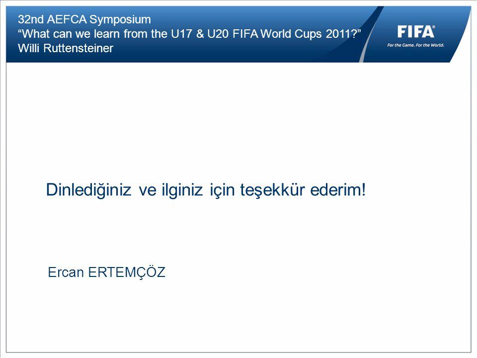 """32nd AEFCA Symposium """"What can we learn from the U17 & U20 FIFA World Cups 2011?"""" Willi Ruttensteiner Dinlediğiniz ve ilginiz için teşekkür ederim! Er"""