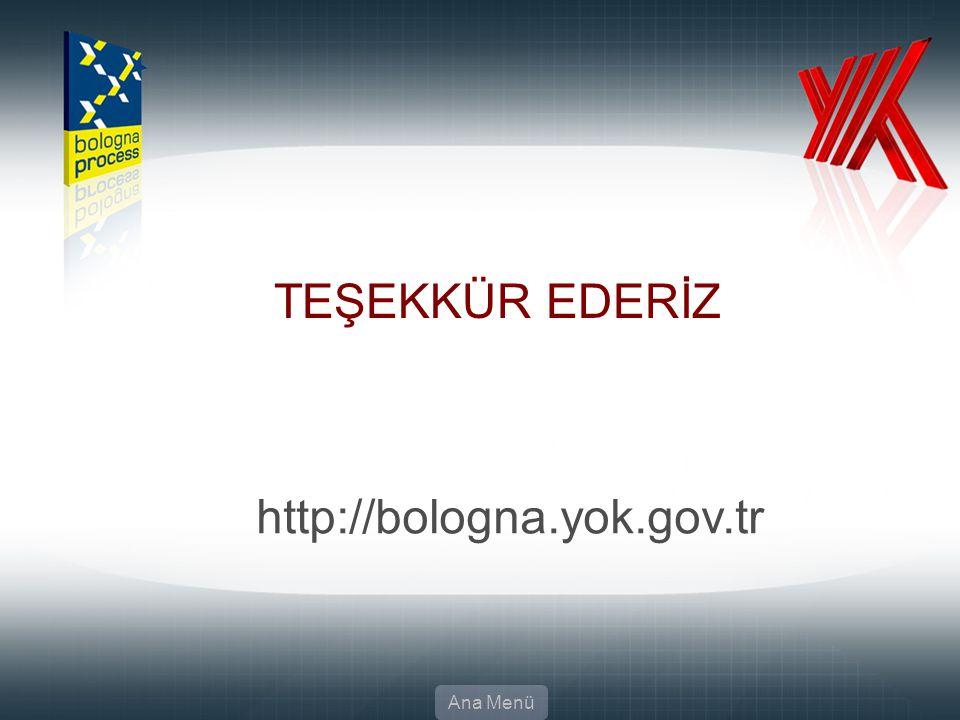 TEŞEKKÜR EDERİZ Ana Menü http://bologna.yok.gov.tr